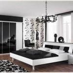 Черно-белые оттенки спальни: классический тренд.